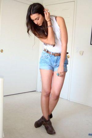 white Forever21 top - blue DIY vintage wranglers shorts - brown vintage belt - b