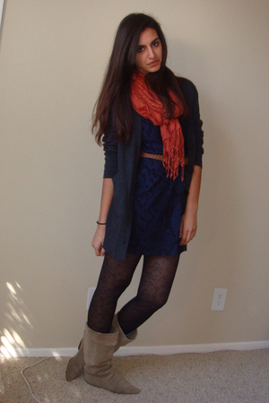 orange H&M scarf - beige vintage boots - blue Express dress