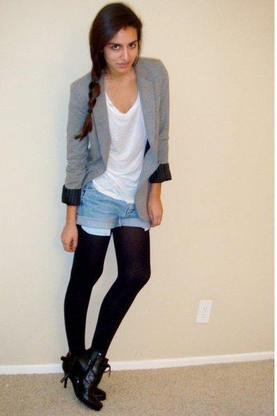 gray Express blazer - white Express t-shirt - blue DIY wranglers shorts - black
