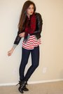 Red-vintage-ralph-lauren-t-shirt-red-express-scarf-gray-juicy-couture-jacket
