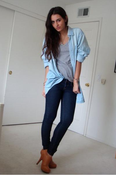 8c4c09137ef blue dads denim shirt - gray Zara t-shirt - blue Express jeans - brown
