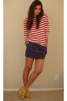 red Ralph Lauren shirt - purple H&M skirt - yellow Nine West shoes