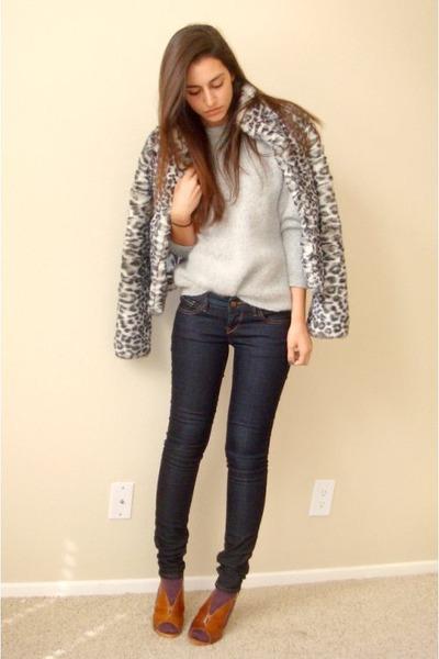 gray H&M coat - gray vintage sweater - blue Express jeans - purple random socks