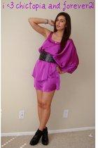 pink Forever21 dress - black Dollhouse boots - black studded Forever21 belt