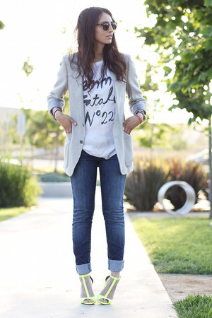 heather gray Vintage YSL blazer - blue joes jeans - white 5Preview t-shirt