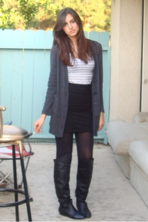 Express top - Express sweater - H&M skirt - Chinese Laundry boots