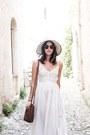 Tan-aldo-hat-white-raga-dress-dark-brown-ray-ban-sunglasses