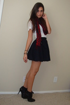 red Express scarf - white Express t-shirt - black H&M skirt - black Dollhouse bo