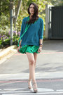 Green-dkny-dress-teal-forever-21-sweater-dark-khaki-bcbg-wedges