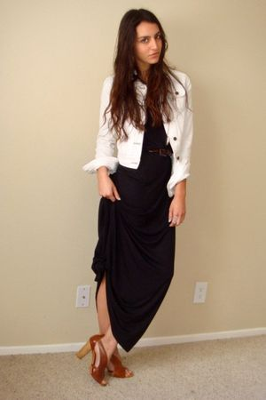 black H&M dress - white Forever21 jacket - brown vintage belt - brown latitude f