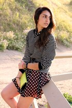 black Forever 21 dress - black American Apparel sweater - chartreuse BCBG bag