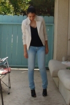 express leather jacket - Express t-shirt - Forever21 jeans - BCBGirls shoes