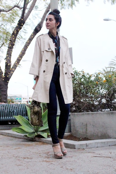 beige trench H&M coat - blue American Apparel jeans - black floral H&M blouse