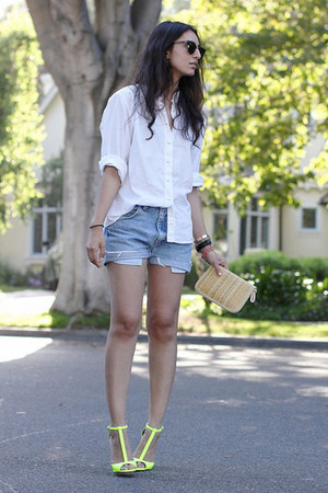 yellow Zara heels - white vintage shirt - beige vintage bag