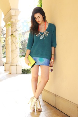 turquoise blue Ralph Lauren skirt - teal Forever 21 sweater