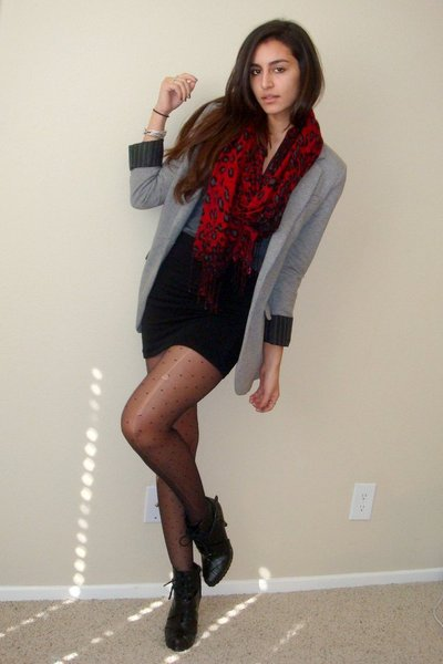 gray Express blazer - black dolhouse boots - red leopard print Express scarf