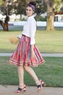 White-american-apparel-shirt-purple-vintage-scarf-red-vintage-skirt