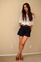 white Forever21 top - black Marc by Marc Jacobs shorts - brown vintage belt - br