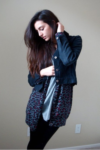 black Club Monaco jacket - gray Forever21 cardigan - gray Target t-shirt - black