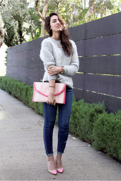 pink H&amp;M bag - blue Paige Denim jeans - heather gray moms mohair sweater