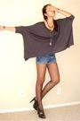 Gray-express-t-shirt-blue-diy-calvin-klein-shorts-black-express-tights-bla