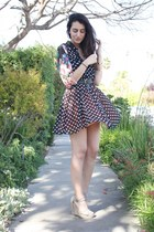 black Forever 21 dress - bubble gum H&M blouse - black vintage Coach belt