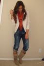 White-express-jacket-blue-american-apparel-t-shirt-orange-h-m-scarf-blue-e