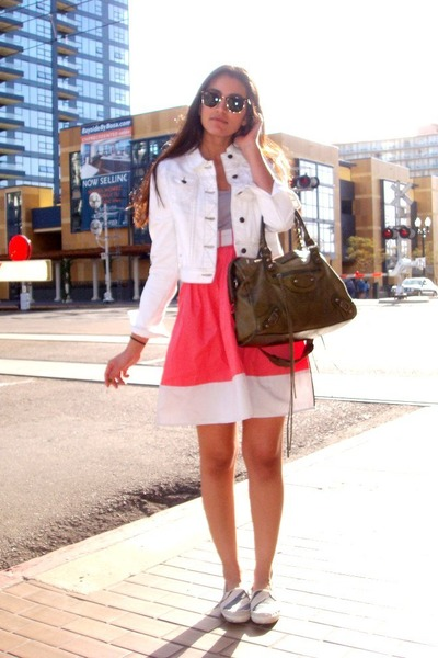 pink Silence&Noise dress - white Forever21 jacket - white Keds shoes - green Bal
