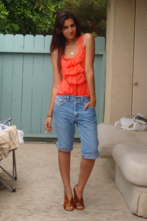 Forever21 blouse - shortened wranglers DIY jeans - latitude femme shoes