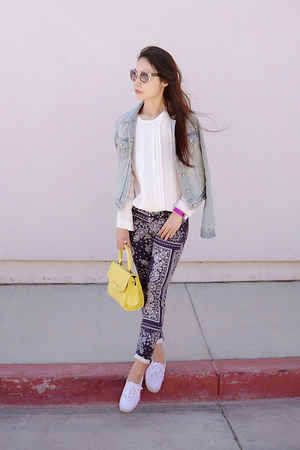 navy printed AG Adriano Goldschmied jeans