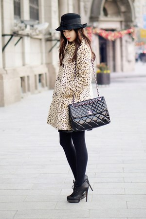 light brown free people coat - black vintage Marida hat - in-business Chanel bag