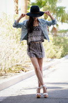 light blue denim Topshop jacket - dark gray Urban Outfitters shorts