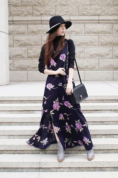 ankle boots Zara boots - Reformation dress - felt hat Zara hat