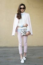 light pink AF jeans - white Urban Outfitters sweater - light pink Zara blazer