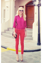 red red Zara pants - hot pink magenta Massimo Dutti shirt
