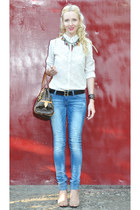 ivory Mango shirt - blue Bershka jeans - brown Louis Vuitton bag