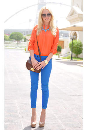 blue Splash necklace - orange Zara shirt - brown Topshop bag