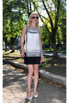 white Stradivarius dress - black Marc by Marc Jacobs bag
