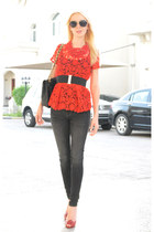 red lace Zara shirt - Guess jeans - Chanel bag - red Valentino heels
