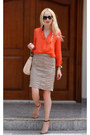 Orange-zara-shirt-beige-salvador-feragamo-bag-orange-zara-heels