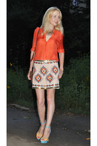 nude Zara skirt - crimson Top Shop bag - carrot orange Zara blouse