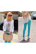 white Massimo Dutti blazer - sky blue blue jenifer jeans - pull&bear shirt