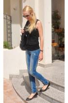 black Zara bag - Bershka jeans - black Pimkie vest - black Zara flats