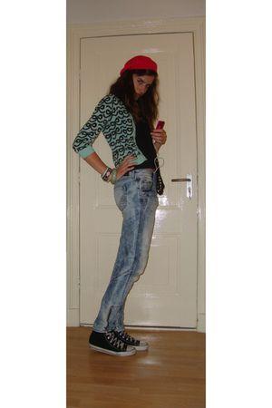 green H&M cardigan - blue H&M jeans - black H&M shirt - pink sonia rykiel pour h