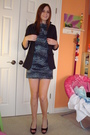 Blue-homemade-dress-black-blazer-black-jessica-simpson-shoes
