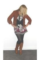 dress - vintage jacket - Wittner boots - tights