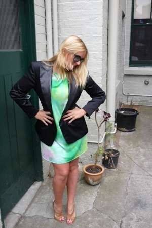 black Cue blazer - beige suede Scooter shoes - green tie dye self-made dress