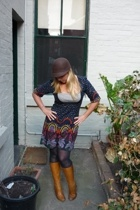 EF Collection dress - Dangerfield hat - tights - Wittner boots - necklace