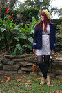 Ivory-floral-print-cotton-on-dress-navy-sailor-style-tailored-in-vietnam-coat-