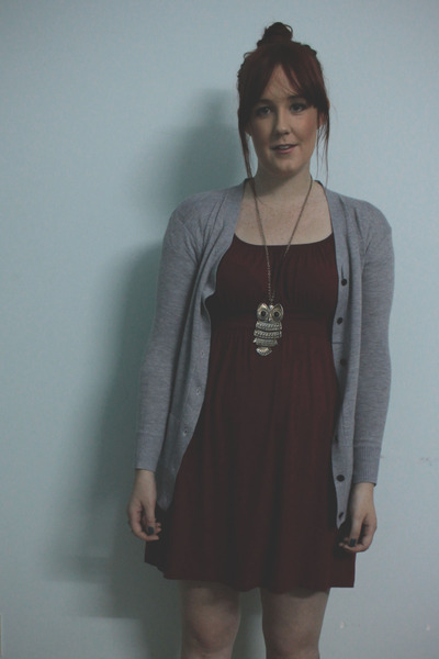 crimson dress - gray cardigan